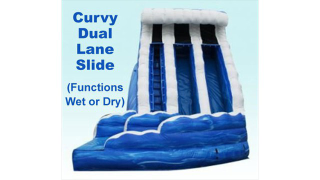 Blue-White Curvy Dual Lane Water Slide